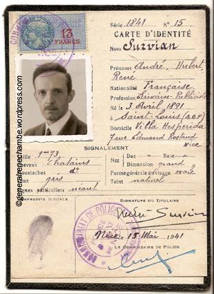 René Chambe - Evasion Espagne fausse carte André Survian 1942