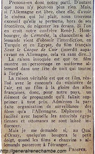 René Chambe - censures film Sous le casque de cuir - Echo de Paris 25mars1933 -1