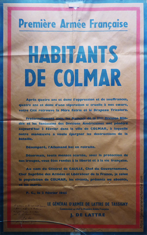 René Chambe - de Lattre de Tassigny à Colmar Affiche 5 février 1945