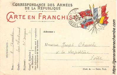 René Chambe - 20e Dragons - Carte en franchise du 8 octobre 1914