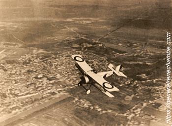 René Chambe - N 12 - A bord de son Bébé Nieuport au-dessus de Reims - avril 1916