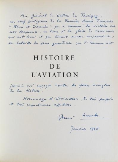 René Chambe - Histoire de l-aviation envoi de Lattre de Tassigny 1950